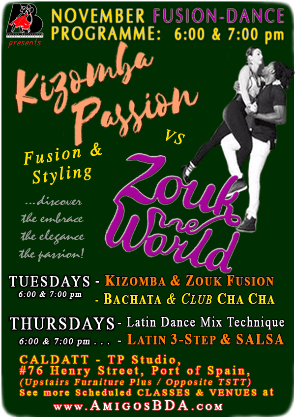 Kizomba, Zouk, Latin 3-Step & Salsa Classes